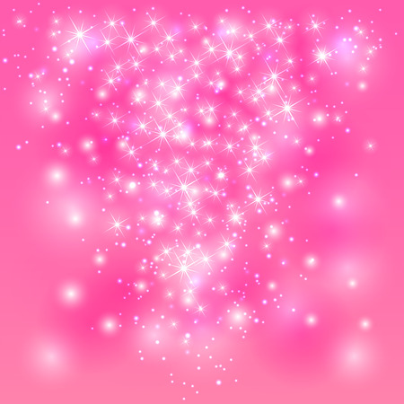Sparkle pink background with shine stars and blurry lights, illustration.