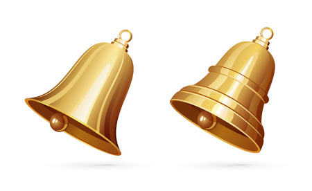 Two golden bells isolated on white background, illustration. Ilustração