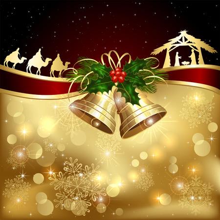 natale: Sfondo con campane d'oro di Natale, agrifoglio bacche e scena cristiana, illustrazione.