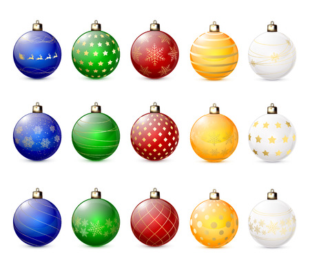 Set of decorative Christmas balls isolated on white background, illustration. Vector