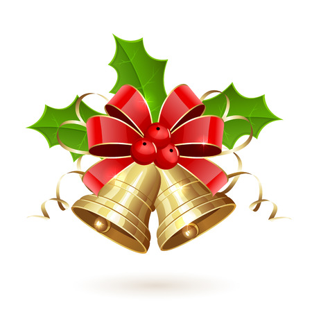 Oro campane di Natale con bacche di Holly, orpelli e fiocco rosso isolato su sfondo bianco, illustrazione. Vettoriali