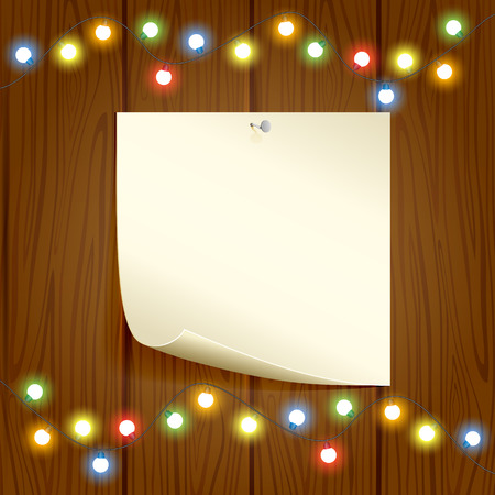 Christmas decoration, paper and colorful light on wooden background, illustration. Vector