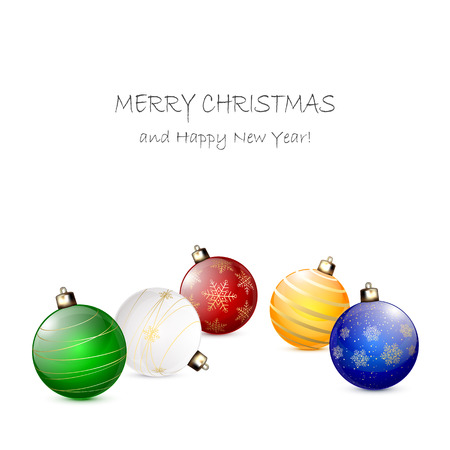Colorful Christmas balls isolated on white background, illustration. Vector