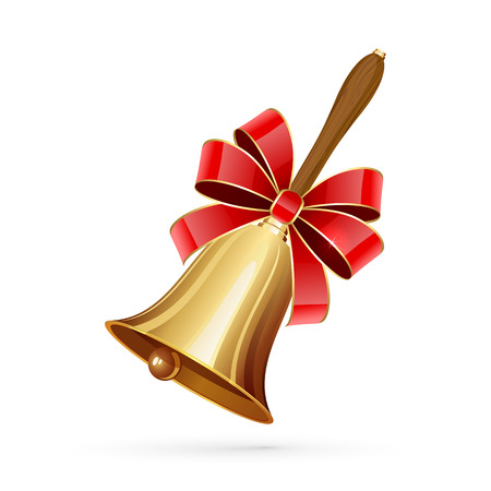 Gold school bell with red bow isolated on white background, illustration. Illustration