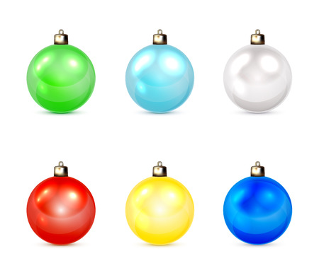 Set of multicolored Christmas balls isolated on white background, illustration. Vector
