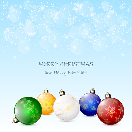 Colorful Christmas balls on blue snowy background, illustration. Vector