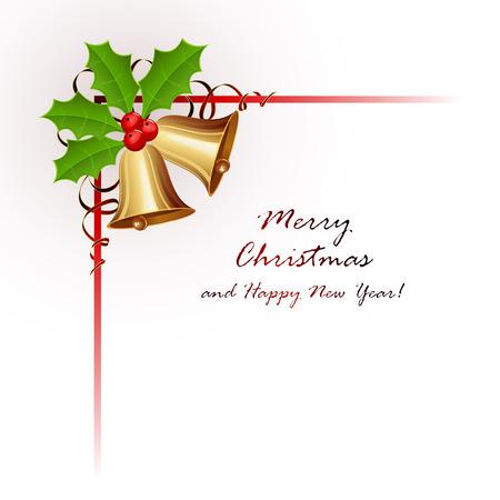 frutos rojos: Oro campanas de Navidad con bayas de acebo y oropel aisladas sobre fondo blanco, ilustraci�n.