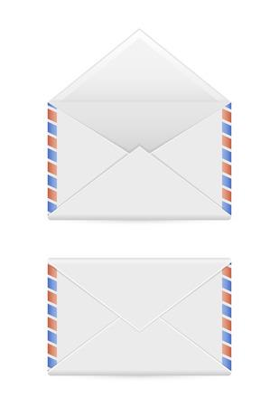 airmail: Envelope mail icons isolated on white background, illustration.