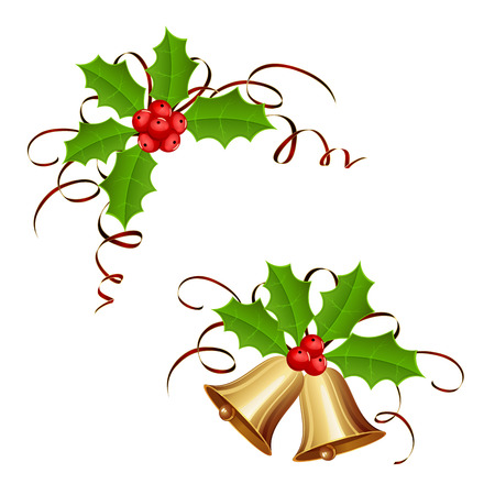Golden Christmas bells and holly berry with tinsel isolated on white background, illustration.