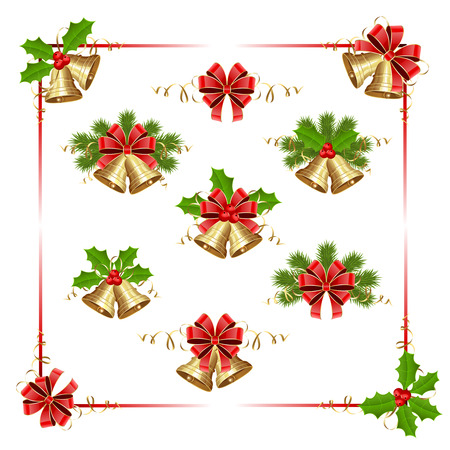 bells: Golden Christmas bells, holly berry and fir tree branches on white background, illustration.