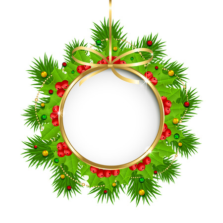 Christmas decoration with holly berry, beads and fir tree branches on white background, illustration. Vector