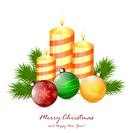 Christmas balls and candles with fir tree branches isolated on white background, illustration. Vector
