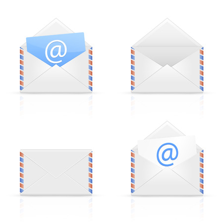 open envelope: Set of envelope with email isolated on white background, illustration. Illustration
