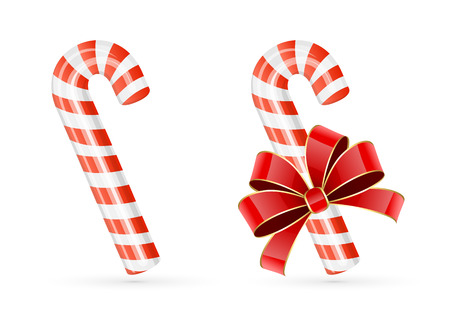 Two Christmas candy canes isolated on white background, illustration. Vector