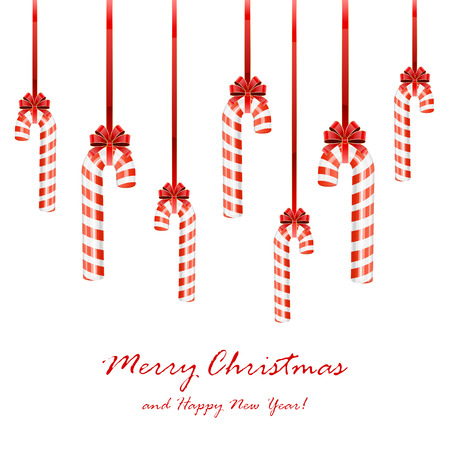 Set of Christmas candy canes with bow isolated on white background, illustration.  イラスト・ベクター素材