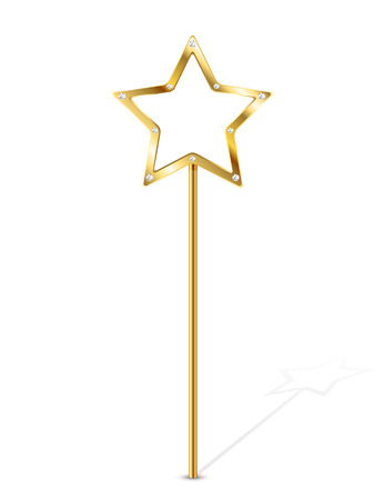 Golden magic wand isolated on white background, illustration. Ilustração