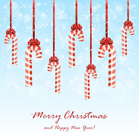 cane sugar: Set of Christmas candy canes with bow on snowy background, illustration.