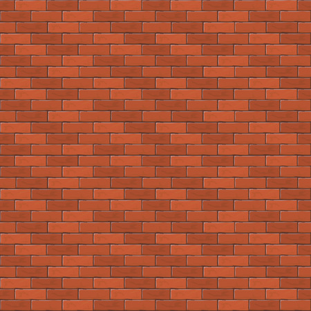 Red brick wall, abstract seamless background, illustration.