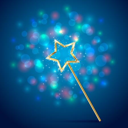 Golden magic wand on blue glittering background, illustration.