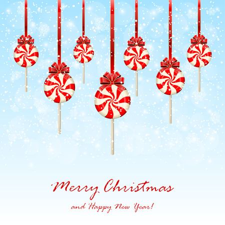 cane sugar: Set of Christmas lollipops with bow on snowy background, illustration. Illustration