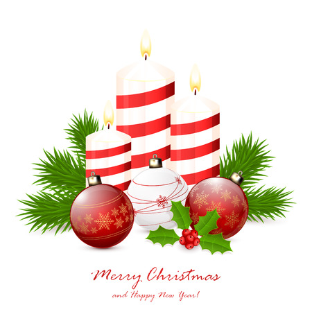 Red Christmas balls and candles with fir tree branches and holly berry isolated on white background, illustration. Illustration