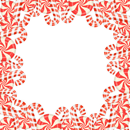 peppermint: Frame of candies on white background, illustration.