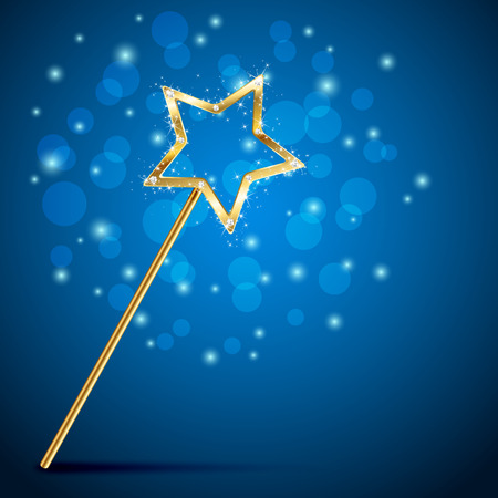 Golden magic wand on blue background, illustration. Ilustração