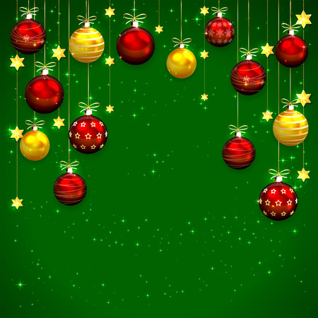 Green background with Christmas balls and stars, illustration. Vector