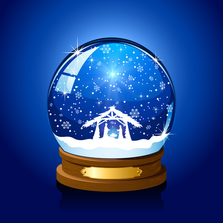 Christmas snow globe with Christian scene on blue background, illustration.