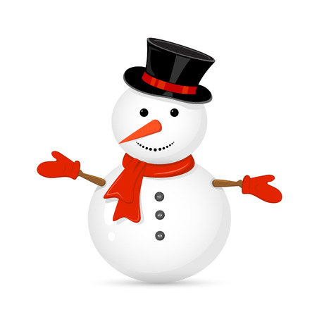 Snowman with hat isolated on white background, illustration. Vector
