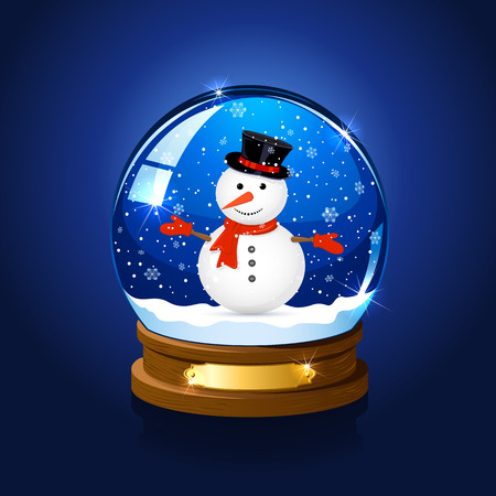 christmas snow globe: Christmas snow globe with snowman on blue background, illustration. Illustration
