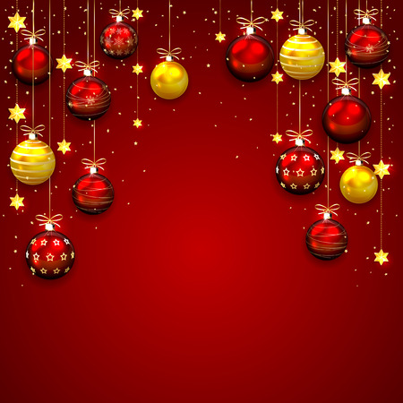 Red Christmas background with balls, stars and confetti, illustration. Vector