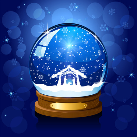 christmas snow globe: Christmas snow globe and Christian scene, illustration.