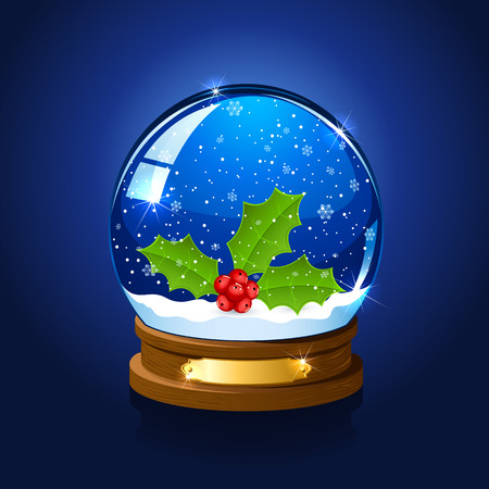 christmas snow globe: Christmas snow globe with holly berry on blue starry background, illustration.