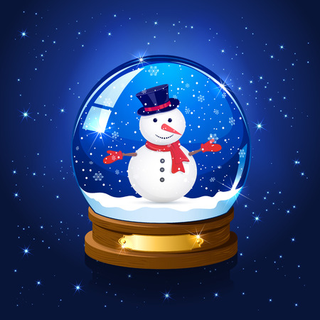 christmas snow globe: Christmas snow globe with snowman on blue starry background, illustration. Illustration