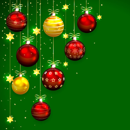 Green background with Christmas balls, stars and confetti, illustration. Vector