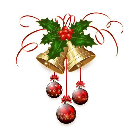 tinsel: Golden Christmas bells with Holly berries, tinsel and red baubles isolated on white background, illustration.