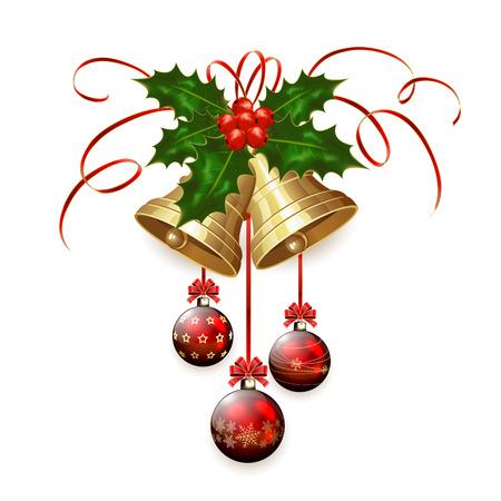 campanas de navidad: Oro campanas de Navidad con las bayas del acebo, guirnaldas y adornos de color rojo aisladas sobre fondo blanco, ilustración.