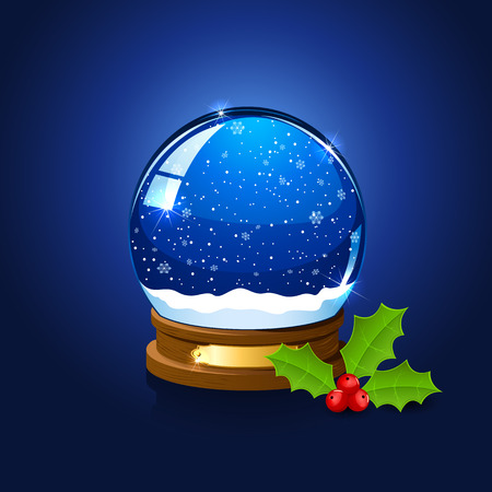Christmas snow globe and holly berry on blue background, illustration.