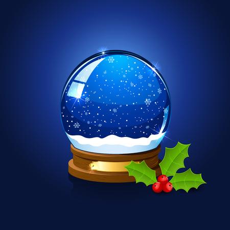 palle di neve: Christmas snow globe e bacche di agrifoglio su sfondo blu, illustrazione.