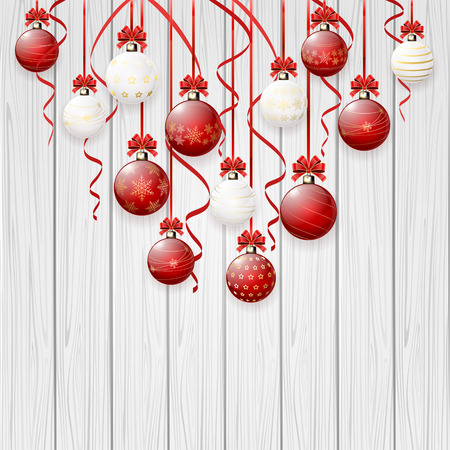 tinsel: Christmas balls with bow and tinsel on wooden background, illustration.