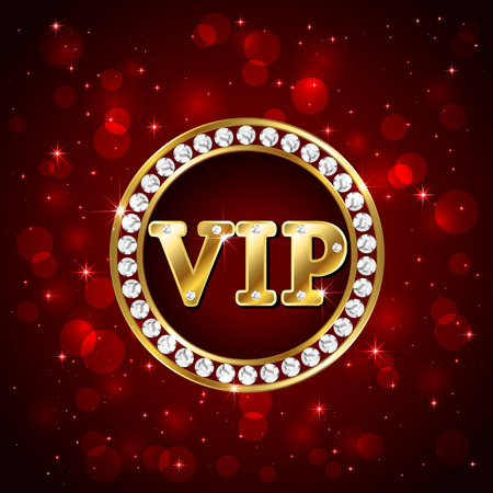 Red starry background with diamonds and golden letters Vip, illustration.