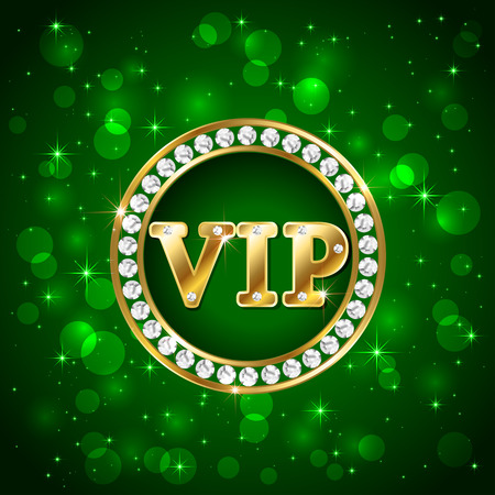 vip symbol: Green starry background with diamonds and golden letters Vip, illustration.