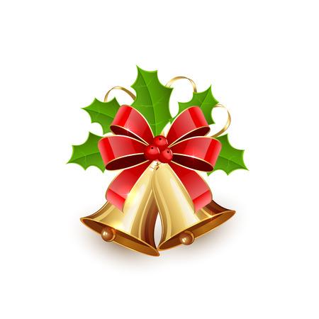 muerdago navidad: Oro campanas de Navidad con lazo rojo, oropel y bayas del acebo aisladas en el fondo blanco, ilustraci�n. Vectores