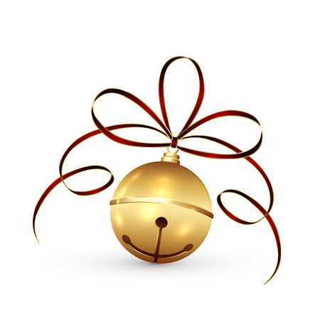 jingle bells: Golden Christmas bell with tinsel and bow isolated on white background, illustration.