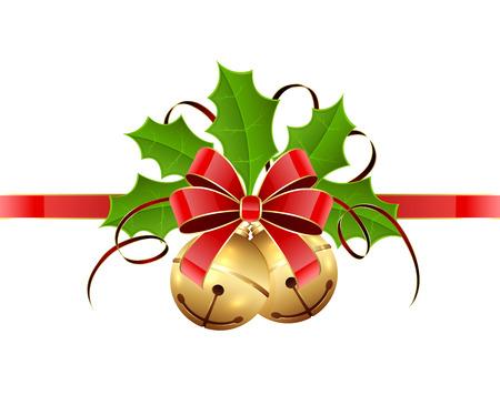 ゴールデン クリスマスの鐘、赤い弓とホリー ベリーに孤立した白い背景、イラスト。