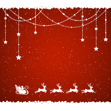 santa sleigh: Red Christmas background with Santa and snowflakes, illustration.