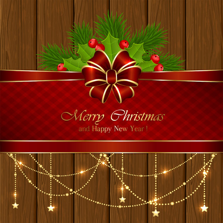 wooden texture: Wooden background with Christmas decorative elements, holly berry and red bow, illustration. Illustration