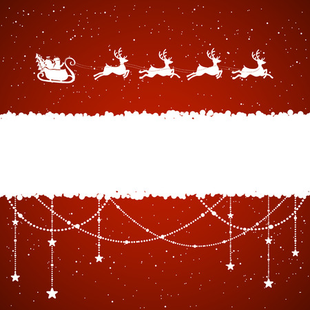 Red Christmas background with Santa and snow, illustration.