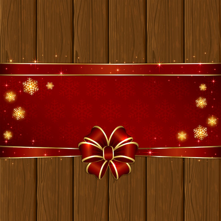 Wooden background with red bow, stars and snowflakes, illustration. Vector
